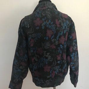 Vintage Jackets & Coats - Floral Denim motorcycle bomber jacket