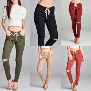 CORA Cut Out Knee Skinnies - 5 colors