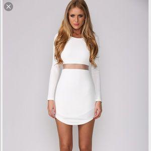 White Cut Out Mesh Nikita Dress