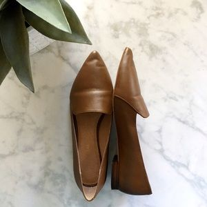 Shoes - Brown Leather Pointed Loafers