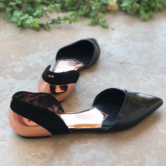 fd838c624e Ted Baker Shoes | Black Rose Gold Pointy Toe Ballet Flats | Poshmark