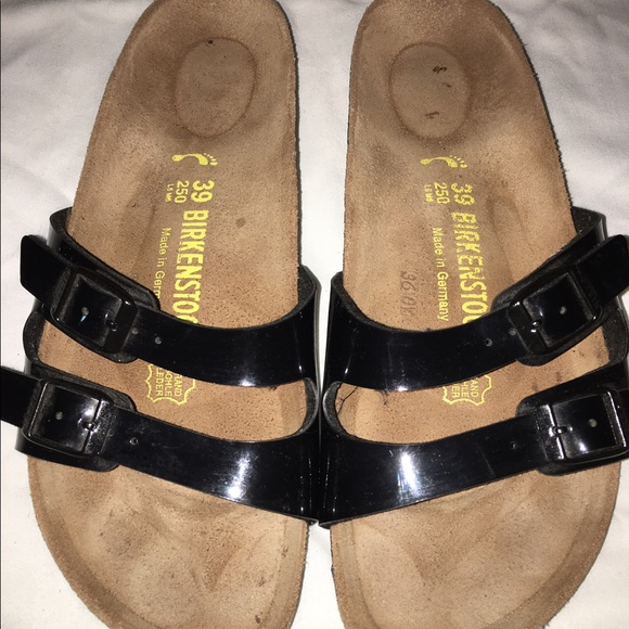 71e25eb4db68 Birkenstock Shoes - Birkenstock black patent leather two strap sandals
