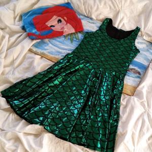 Green Mermaid Skater Dress