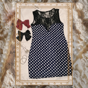 Dresses & Skirts - Navy Blue Retro Lacy Polkadot Bodycon