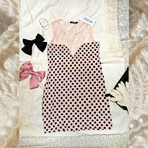 Pink Retro Lacy Polkadot Bodycon