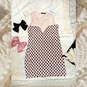 Dresses & Skirts - Pink Retro Lacy Polkadot Bodycon