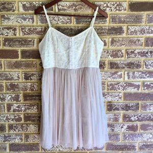 A-line cream and tan lace & tulle skirt dress