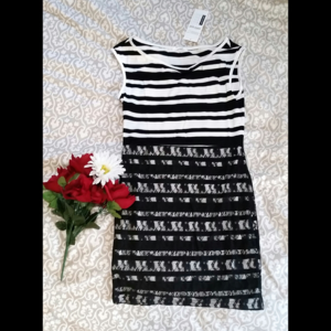 Dresses & Skirts - Stripes and Lace-Overlay Tank Dress
