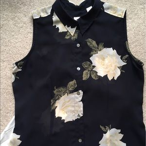 Sheer Floral Sleeveless Top