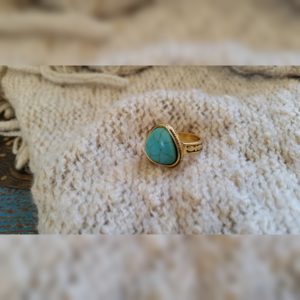 Jewelry - Boho Faux Gold and Turquoise Ring