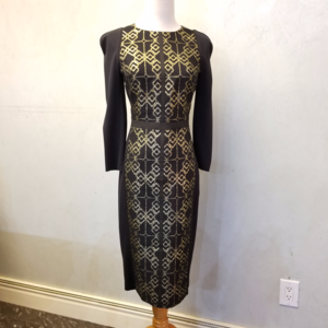 NWT Ted Baker London black and gold design dress