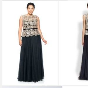 Tadashi guipure lace and chiffon gown