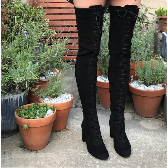 8c2bfb5afd0 BNWT genuine suede thigh high Lace up boots sz 8