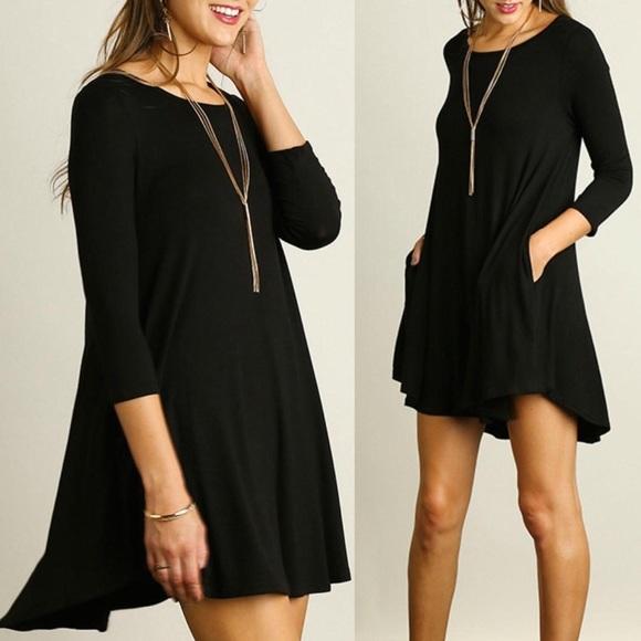 c767f53dcadbd Umgee Dresses | Black Casual Tshirt Dress With Pockets 34 | Poshmark