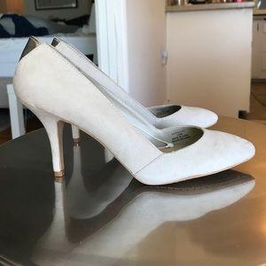 Nude suede Zara court heels