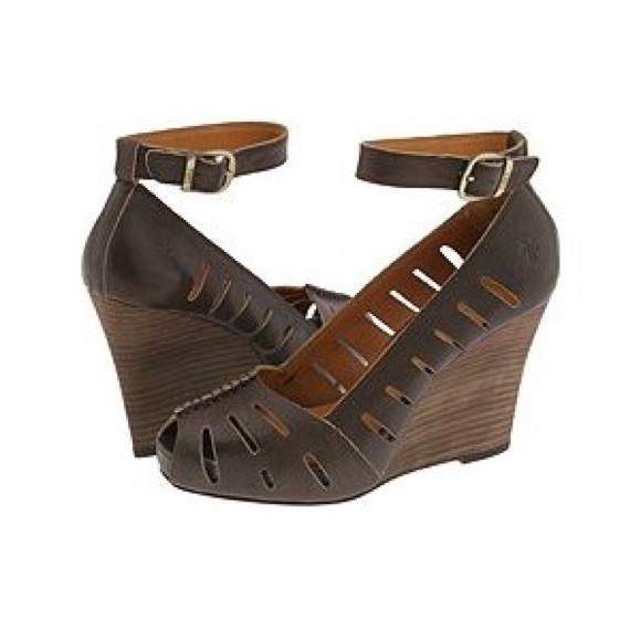 75% off Frye Shoes - Frye Gwen Ankle Strap Wooden Wedge Heels 8 ...