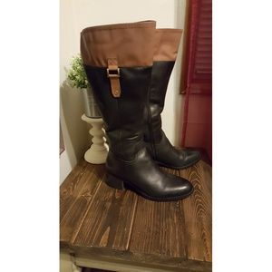 ❤Franco Sarto Leather Two-Toned Riding Boots❤