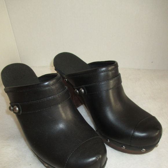 UGG JOLENE black leather clogs with studs