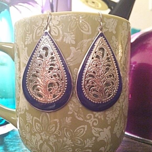 Jewelry - Blue/Silver Earrings (NWOT)