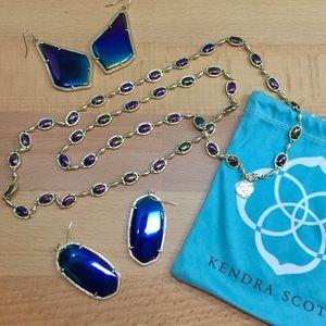 Kendra Scott Gale Black Iridescent necklace NWOT