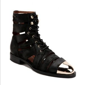 JEFFREY CAMPBELL SLASHED CAP CUT OUT ANKLE BOOT