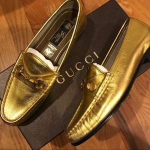New Gold Gucci loafers made in Italy