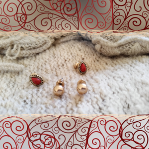 Red Teardrop & Gold Sphere Mini Stud Bundle