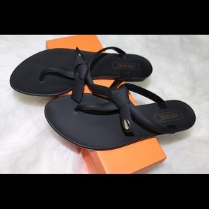 Black Jelly Bow Sandals Lowest Price