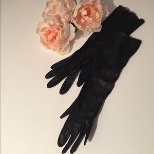 Vintage black leather gloves.