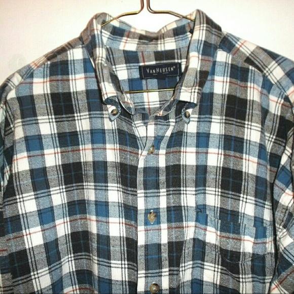 Van heusen blue black plaid cotton flannel shirt mens for Van heusen plaid shirts