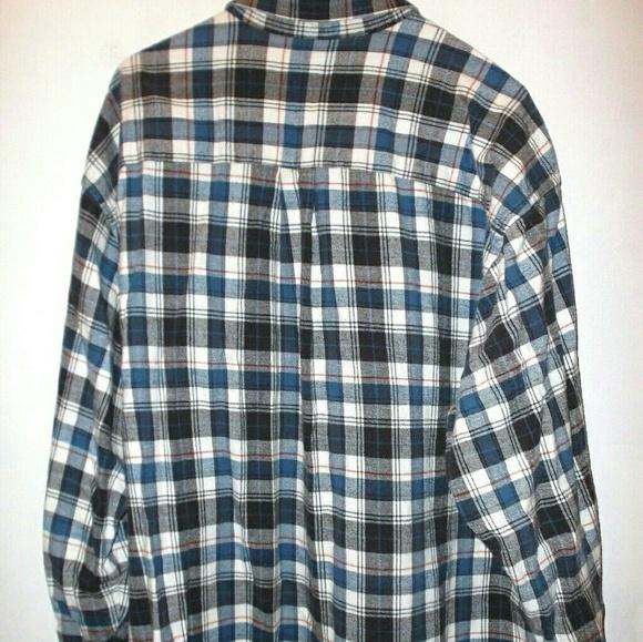 Van heusen blue black plaid cotton flannel shirt mens for Mens xl flannel shirts