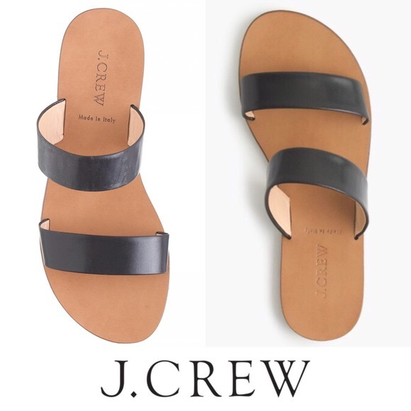 51% off J. Crew Shoes - J. Crew Malta Black Leather Slide-On Sandals from ! katie's closet on ...