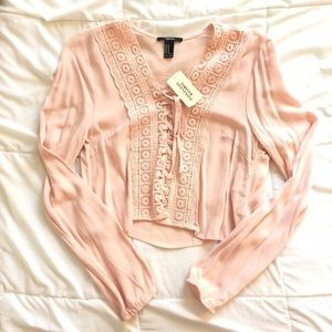 NWT F21 Blush Lace Up Long Sleeve Crop Top