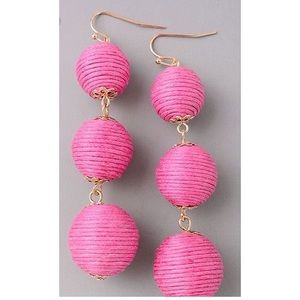Pink drop ball earrings