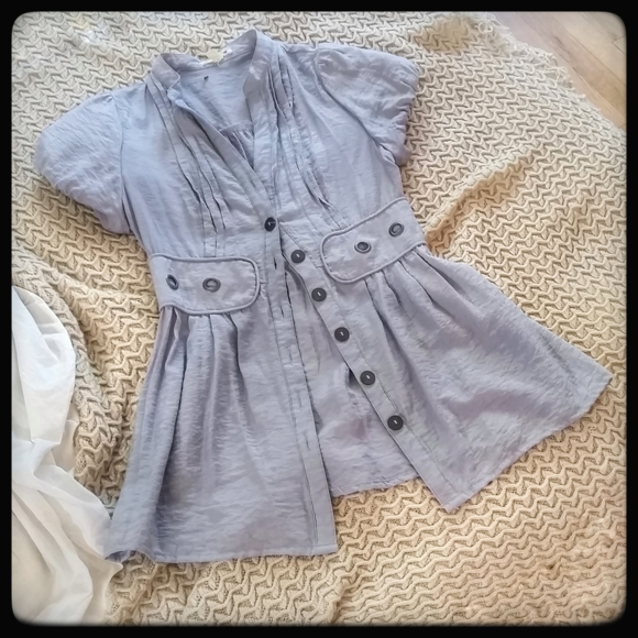 mine Jackets & Blazers - Blue-Grey Puffy-Short-Sleeved Blazer