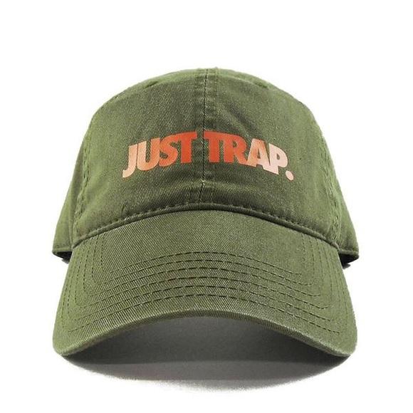 Supreme Accessories - Just Trap Dad Cap - Olive w/ Orange