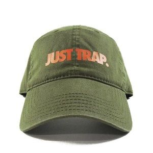 Just Trap Dad Cap - Olive w/ Orange
