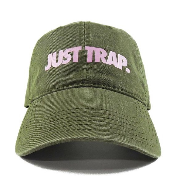 Supreme Accessories - Just Trap Dad Cap - Olive w/ Pink