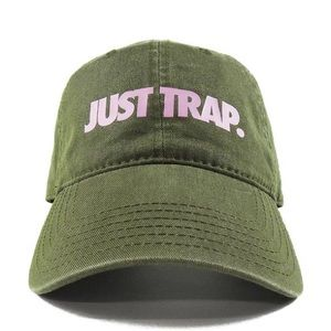 Just Trap Dad Cap - Olive w/ Pink