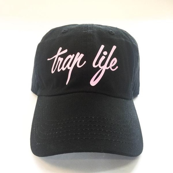 Stussy Accessories - Trap Life Dad Cap - Black w/ Pink