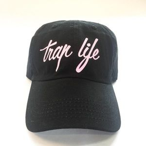 Trap Life Dad Cap - Black w/ Pink