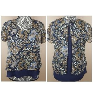 Blue Print Flowy Top by Sienna Sky, Size XS