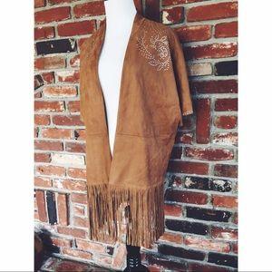 💥Vegan Suede Fringe Studded Kimono Jacket M