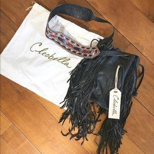 Cleobella sawyer crossbody fringe drawstring bag
