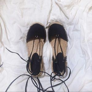 Black Lace up Espadrilles Sandals