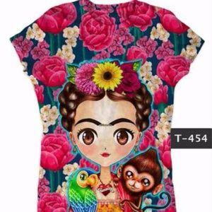 New Frida Kahlo & Money Graphic Tee T-Shirt