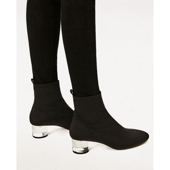 04322869e Zara Shoes | Black Stretch Sock Lucite Heel Boot 38 41 | Poshmark