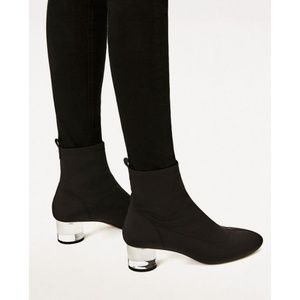ZARA Black Stretch Sock Lucite Heel Boot 38 41