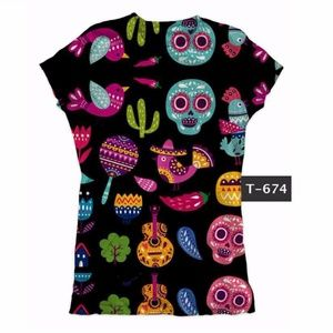 Day of the Dead Graphic Tee T-Shirt Skulls Cactus