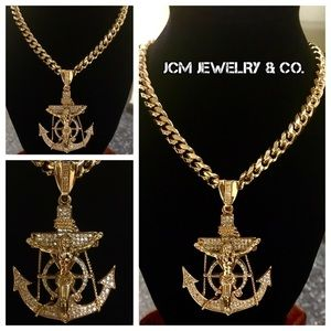 "Other - 14K Gold Plated 30"" Cuban w/ 4"" Anchor Crucifix"